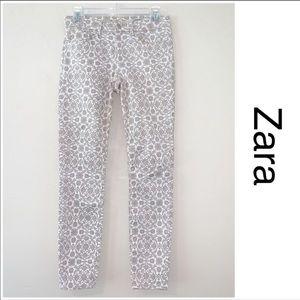 ZARA | Cream and Tan Medallion Design Slim Fit